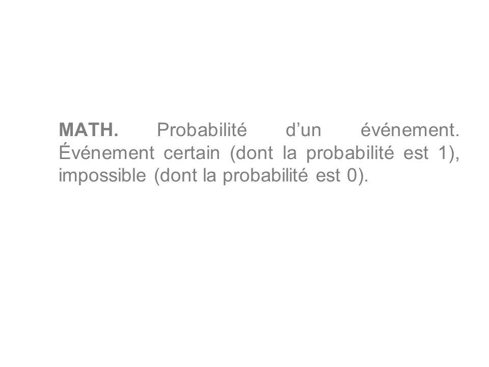 MATH. Probabilité d'un événement