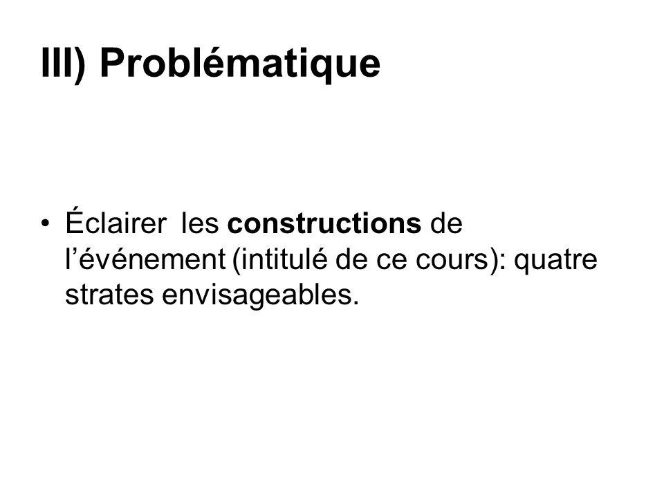 III) ProblématiqueÉclairer les constructions de l'événement (intitulé de ce cours): quatre strates envisageables.