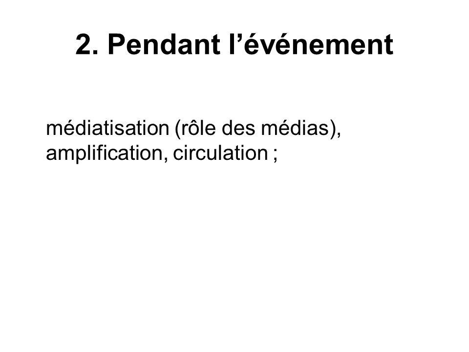 2. Pendant l'événement médiatisation (rôle des médias), amplification, circulation ;