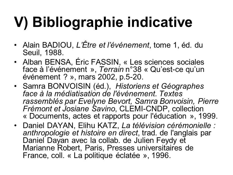 V) Bibliographie indicative