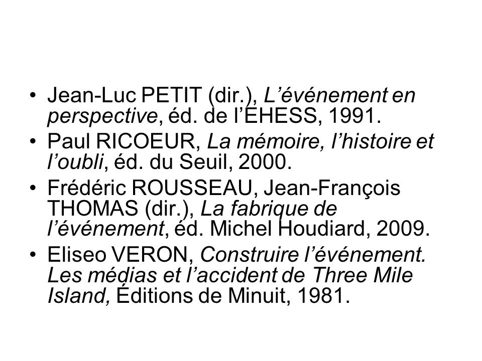 Jean-Luc PETIT (dir. ), L'événement en perspective, éd