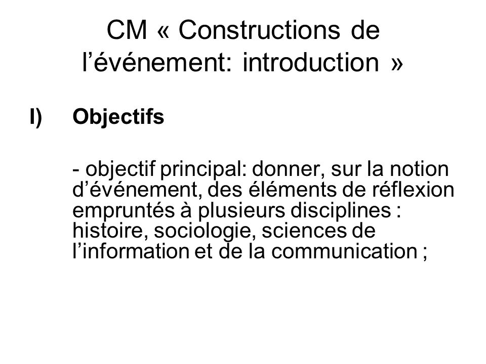 CM « Constructions de l'événement: introduction »