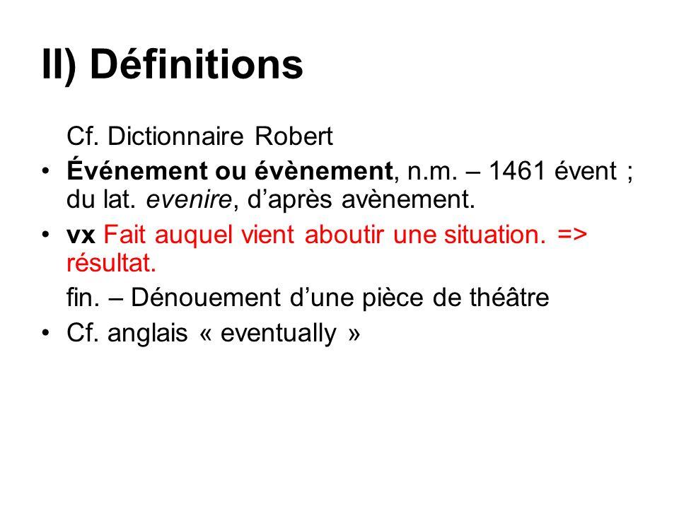II) Définitions Cf. Dictionnaire Robert