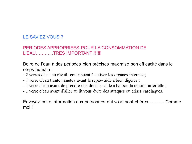 LE SAVIEZ VOUS PERIODES APPROPRIEES POUR LA CONSOMMATION DE L'EAU………...TRES IMPORTANT !!!!!!