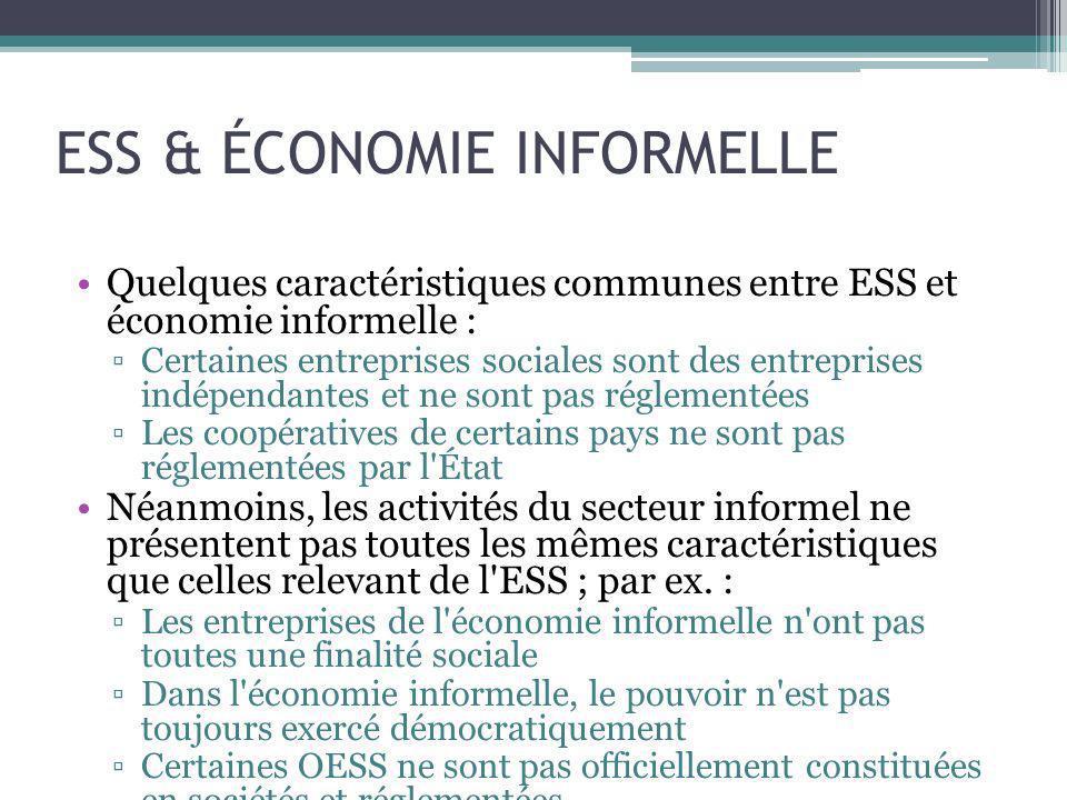 ESS & ÉCONOMIE INFORMELLE
