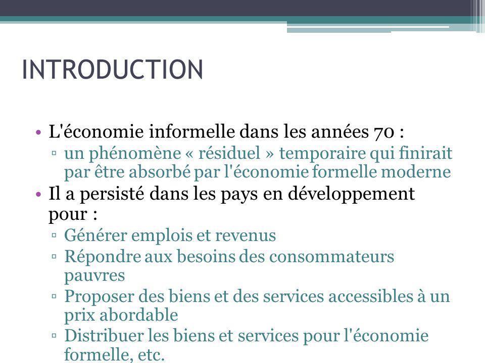 INTRODUCTION L économie informelle dans les années 70 :