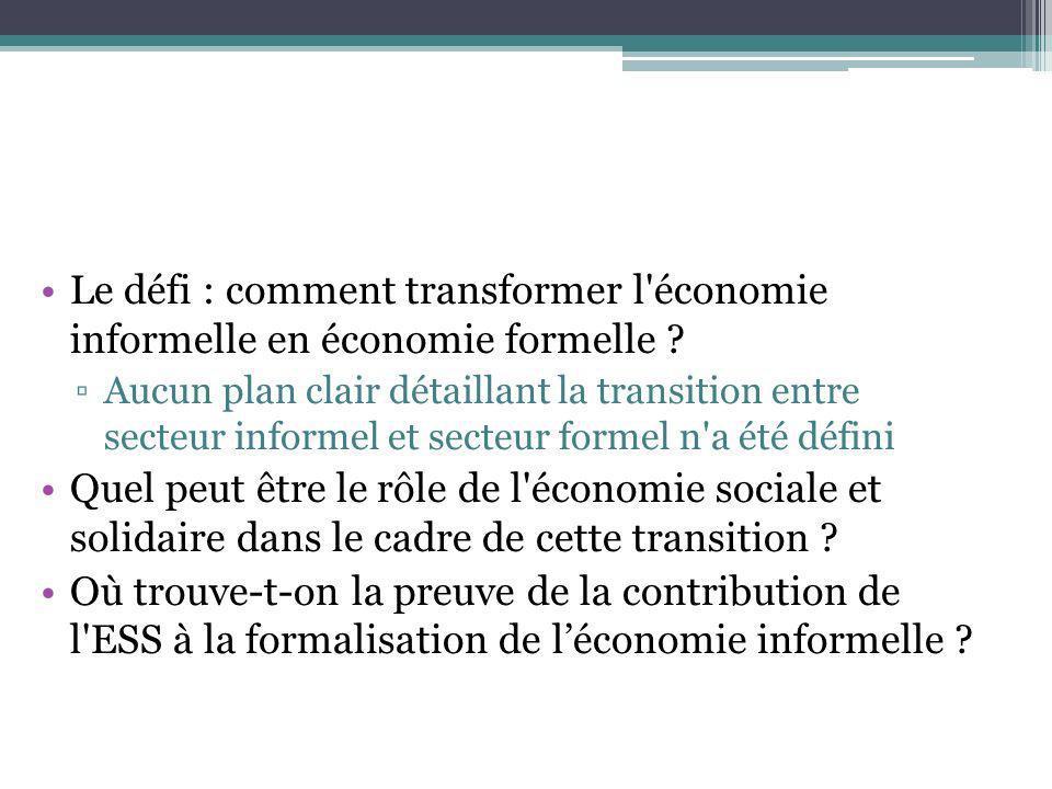 Le défi : comment transformer l économie informelle en économie formelle