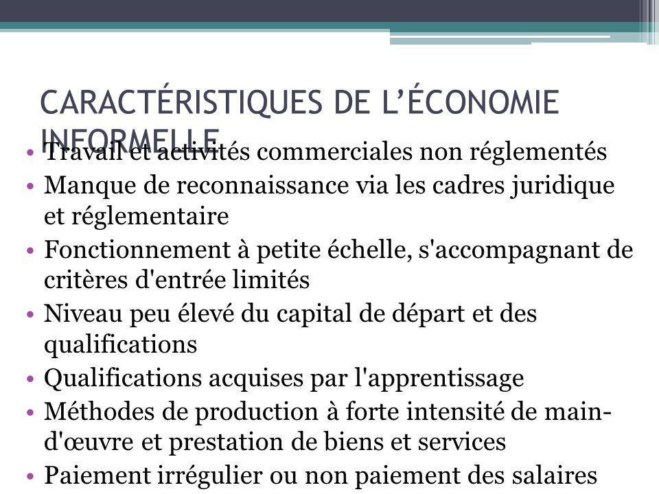 CARACTÉRISTIQUES DE L'ÉCONOMIE INFORMELLE