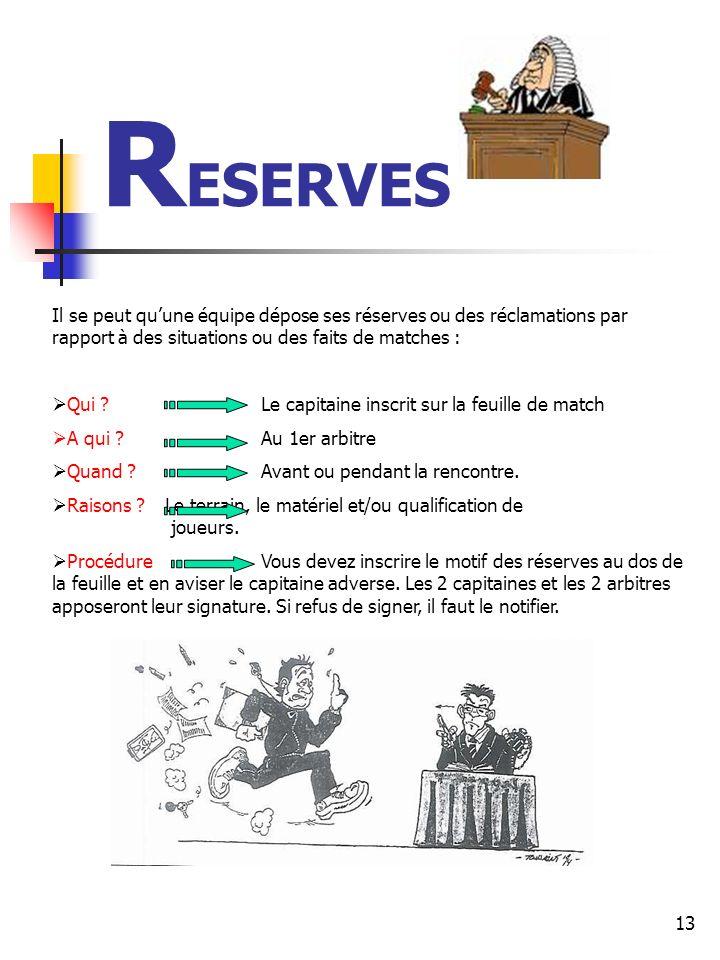 RESERVES Il se peut qu'une équipe dépose ses réserves ou des réclamations par rapport à des situations ou des faits de matches :