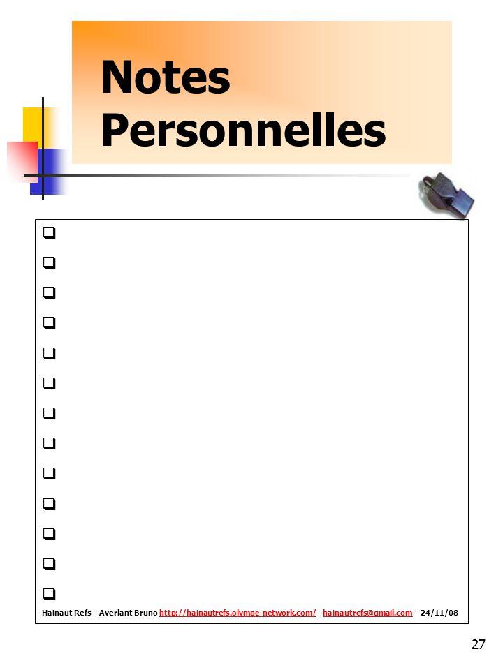 Notes Personnelles.