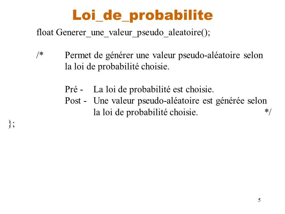 Loi_de_probabilite float Generer_une_valeur_pseudo_aleatoire();