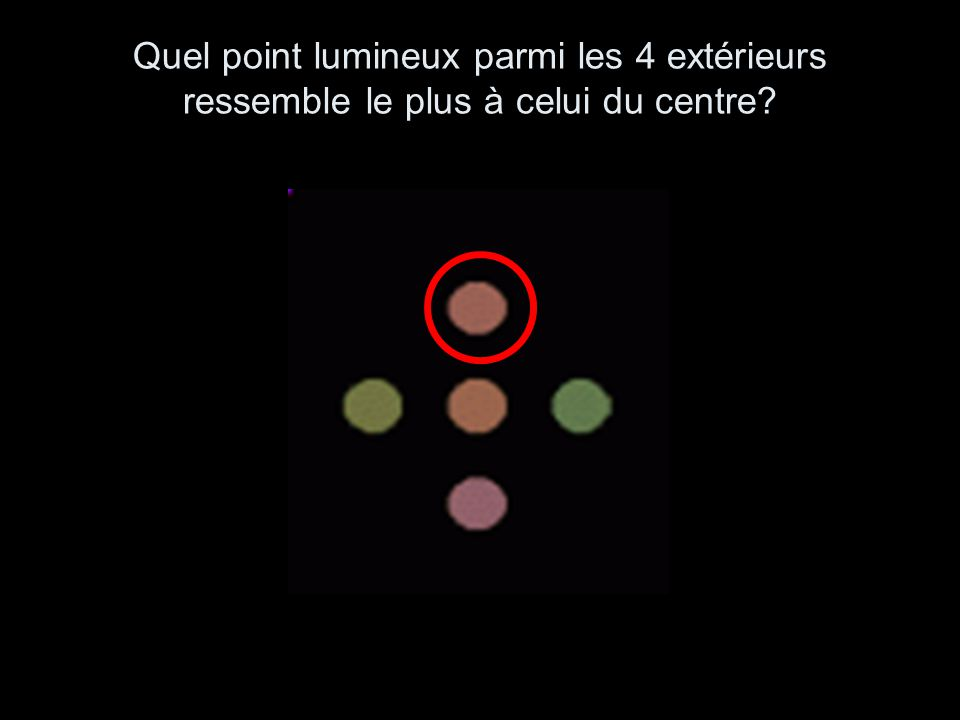Quel point lumineux parmi les 4 extérieurs ressemble le plus à celui du centre