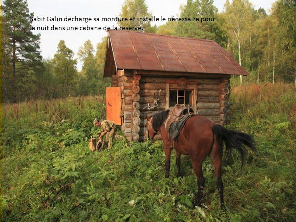 Sabit Galin décharge sa monture et installe le nécessaire pour la nuit dans une cabane de la réserve.