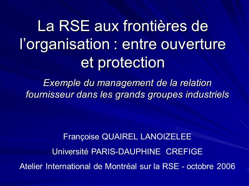 La RSE aux frontières de l'organisation : entre ouverture et protection
