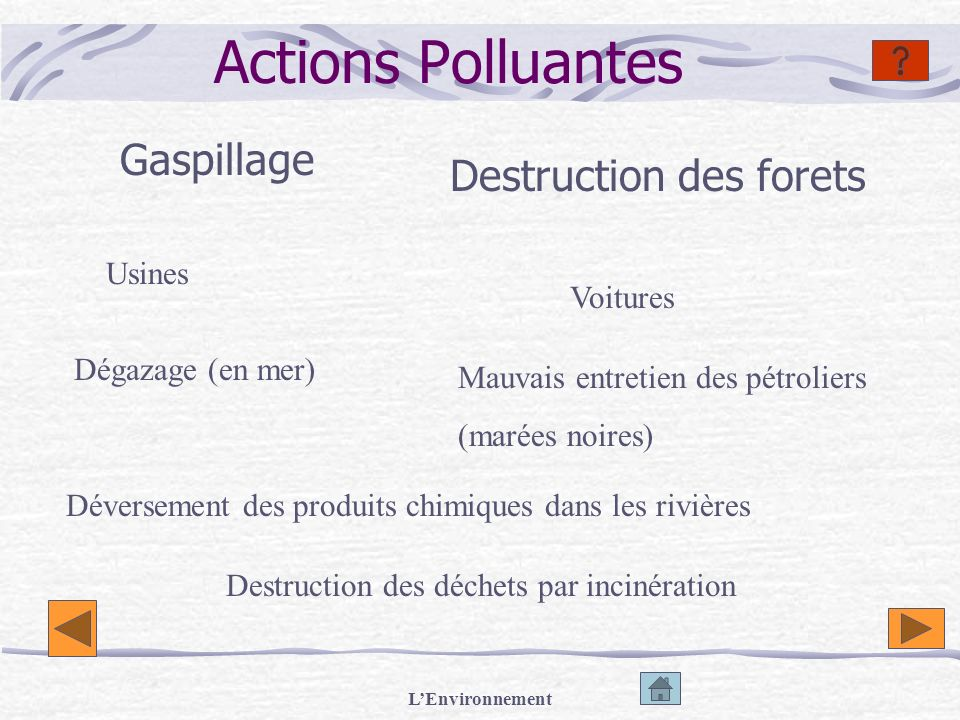 Actions Polluantes Gaspillage Destruction des forets Usines Voitures