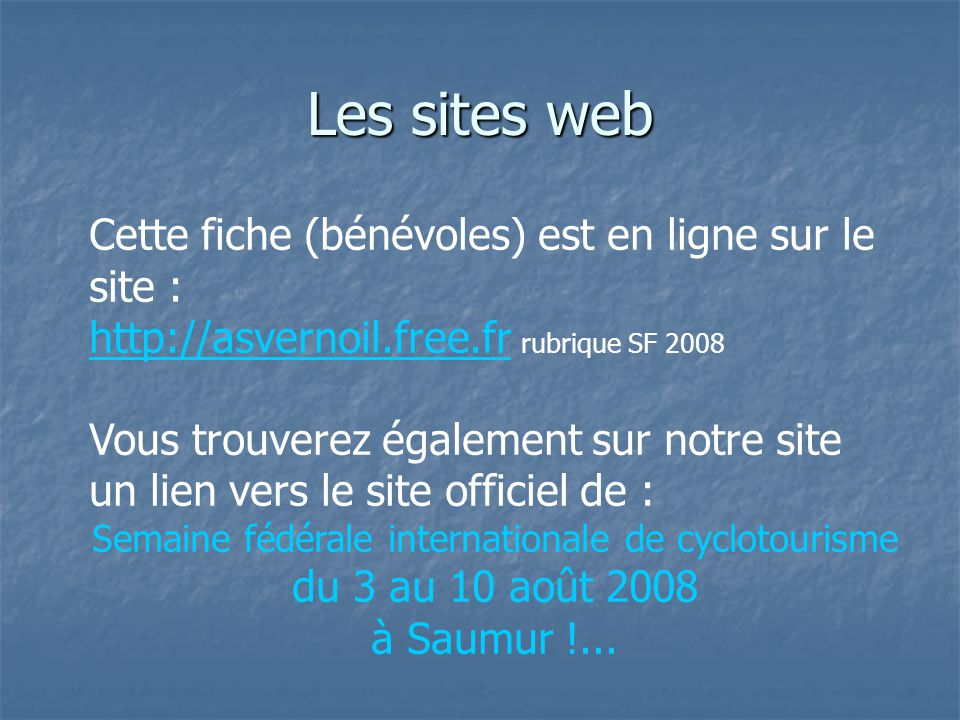 Les sites web SF 2008 à SAUMUR