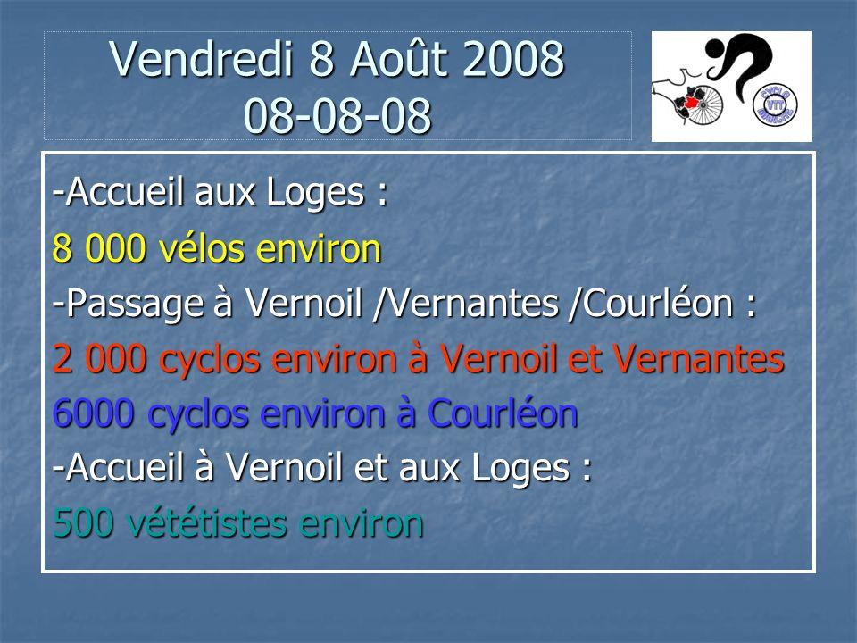 Vendredi 8 Août 2008 08-08-08 -Accueil aux Loges : 8 000 vélos environ