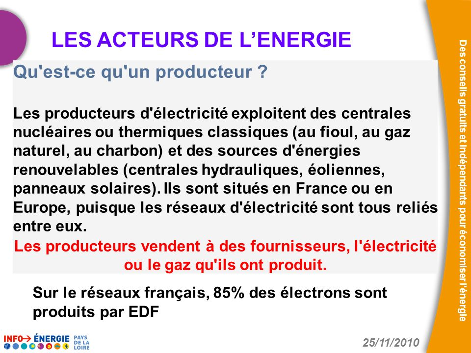 LES ACTEURS DE L'ENERGIE