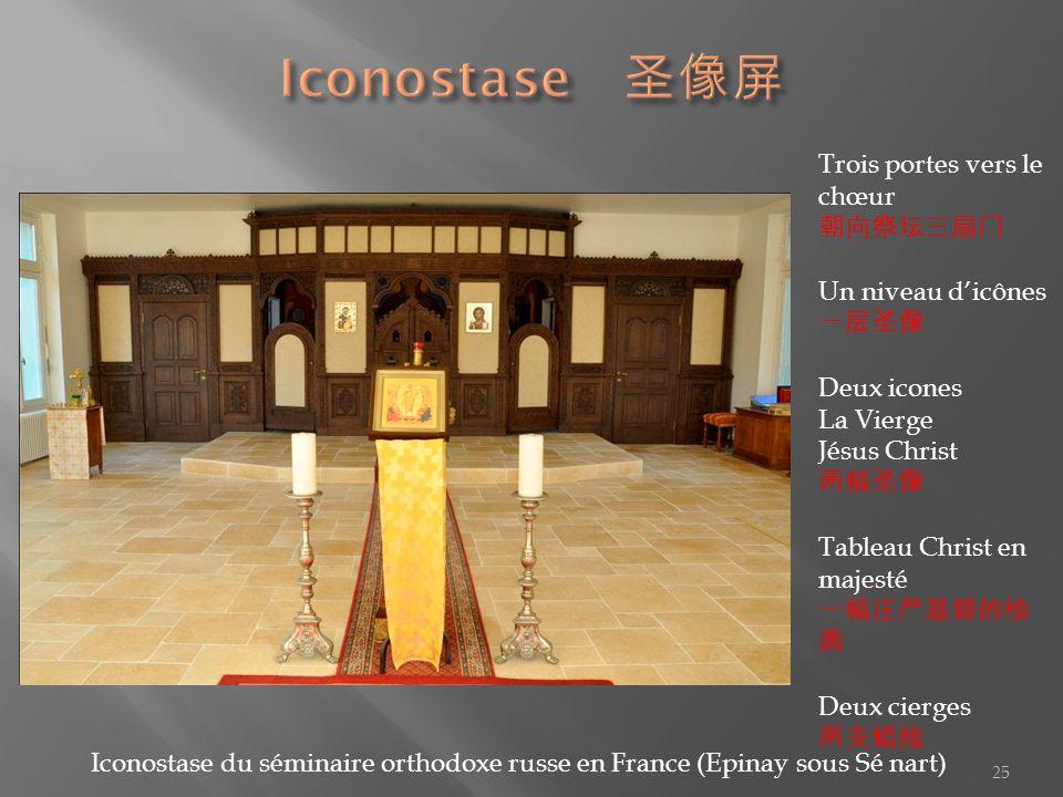 Iconostase 圣像屏 Trois portes vers le chœur 朝向祭坛三扇门 Un niveau d'icônes