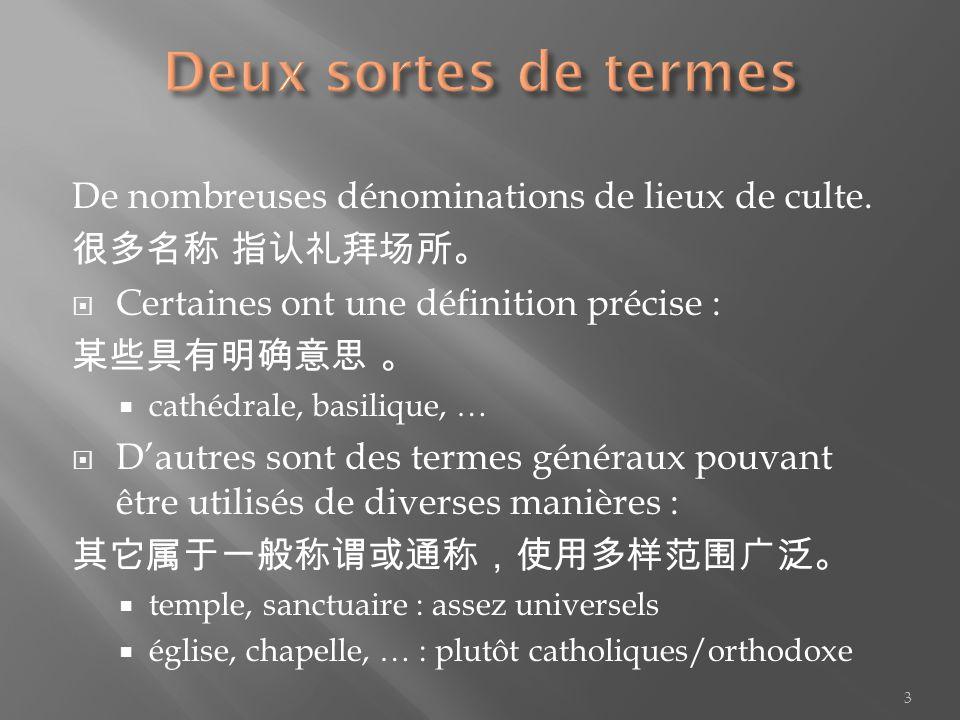 Deux sortes de termes De nombreuses dénominations de lieux de culte.