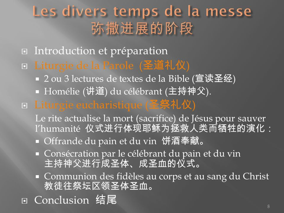 Les divers temps de la messe 弥撒进展的阶段