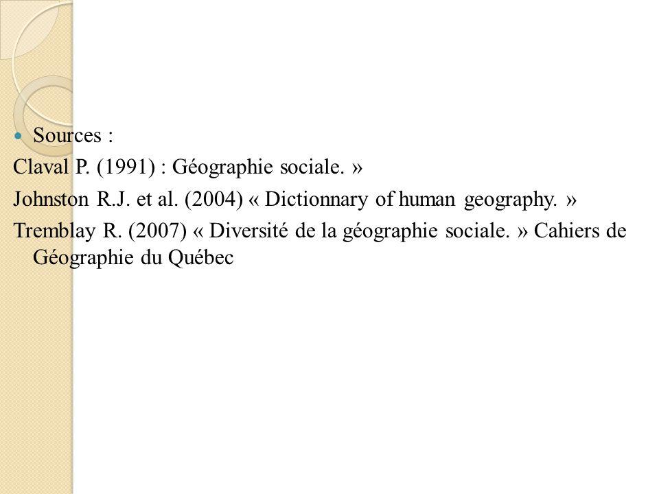 Sources : Claval P. (1991) : Géographie sociale. » Johnston R.J. et al. (2004) « Dictionnary of human geography. »