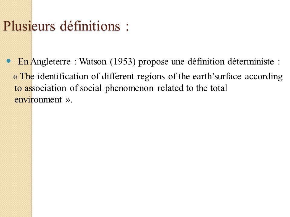 Plusieurs définitions :