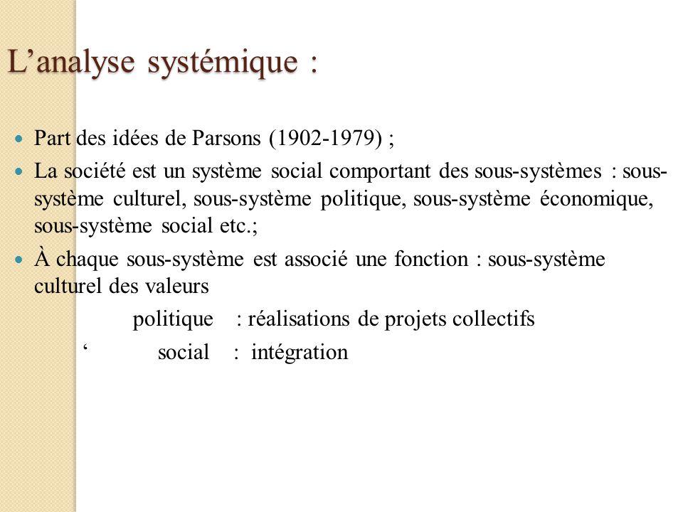 L'analyse systémique :