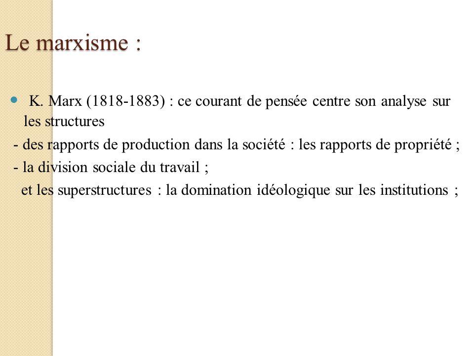 Le marxisme : K. Marx (1818-1883) : ce courant de pensée centre son analyse sur les structures.