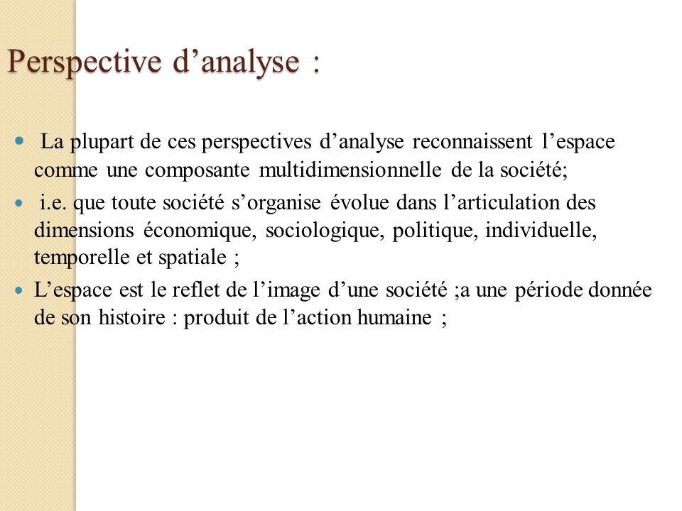 Perspective d'analyse :