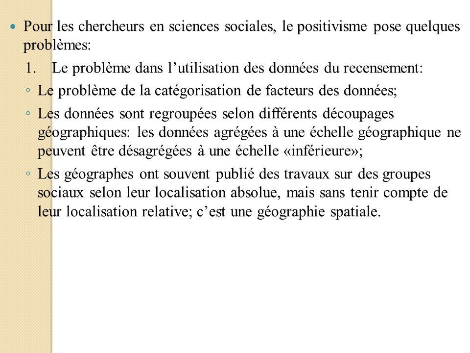 Pour les chercheurs en sciences sociales, le positivisme pose quelques problèmes: