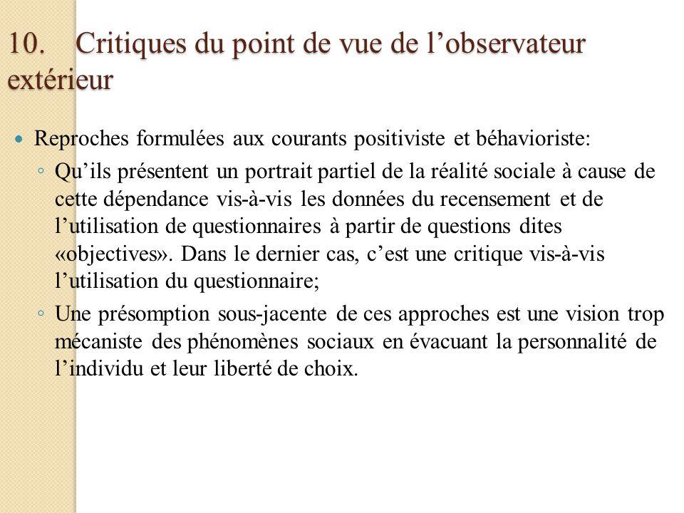 10. Critiques du point de vue de l'observateur extérieur