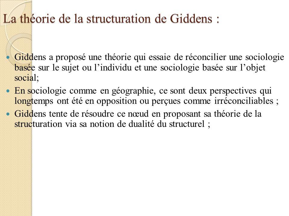 La théorie de la structuration de Giddens :