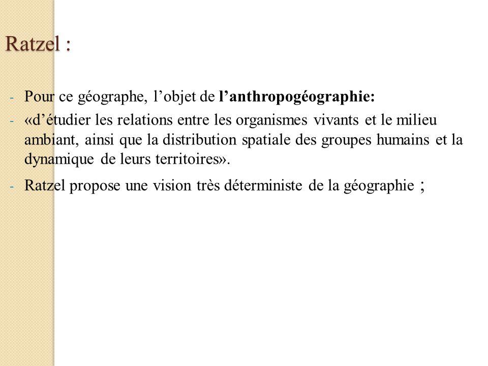Ratzel : Pour ce géographe, l'objet de l'anthropogéographie:
