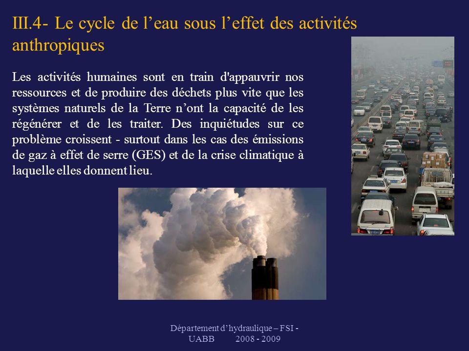III.4- Le cycle de l'eau sous l'effet des activités anthropiques