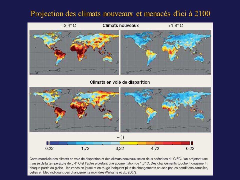 Projection des climats nouveaux et menacés d ici à 2100