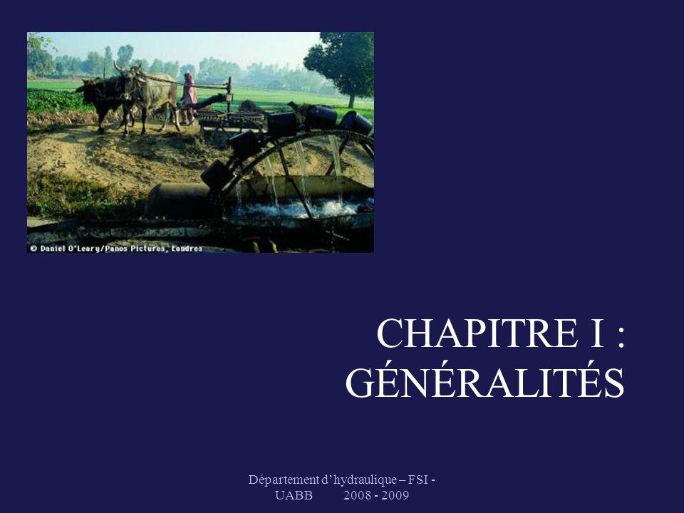 CHAPITRE I : GÉNÉRALITÉS