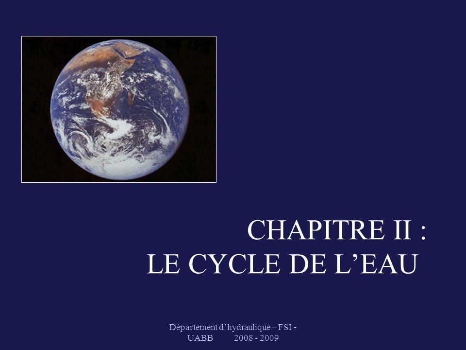 CHAPITRE II : LE CYCLE DE L'EAU