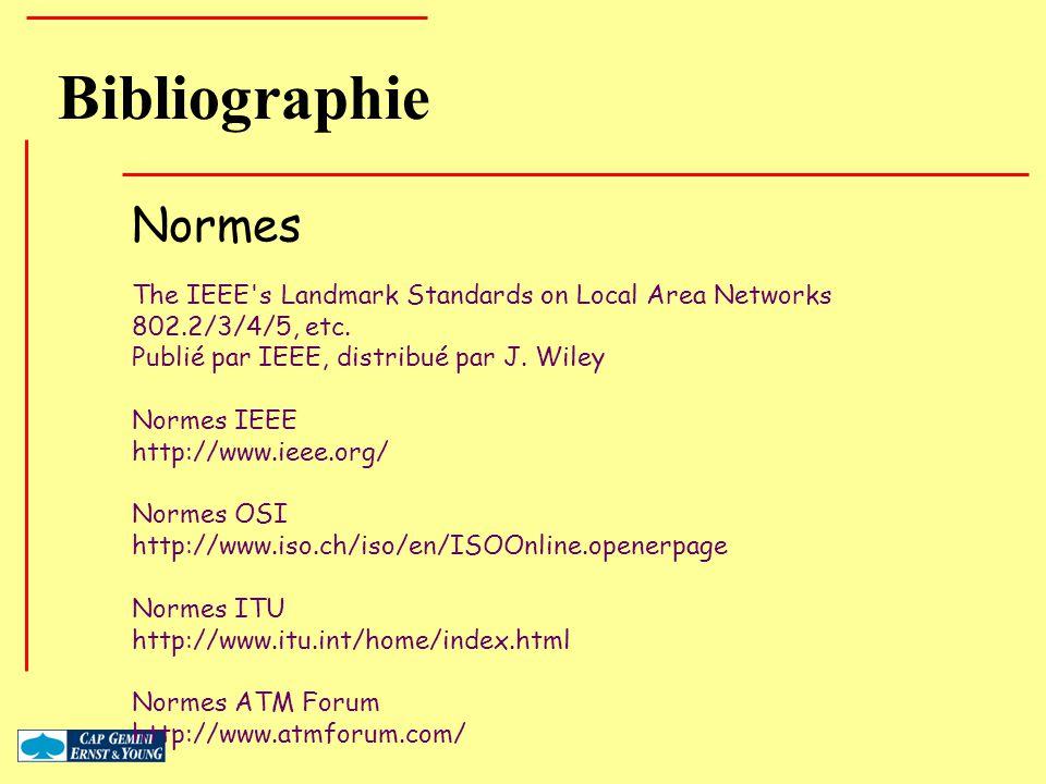 Bibliographie Normes. The IEEE s Landmark Standards on Local Area Networks. 802.2/3/4/5, etc. Publié par IEEE, distribué par J. Wiley.
