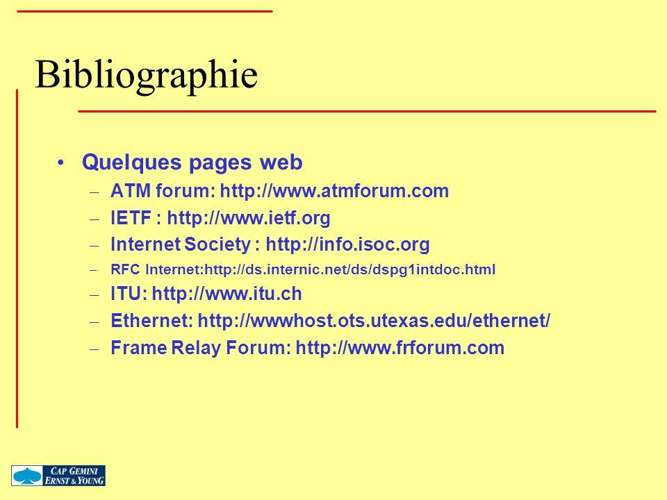 Bibliographie Quelques pages web ATM forum: http://www.atmforum.com