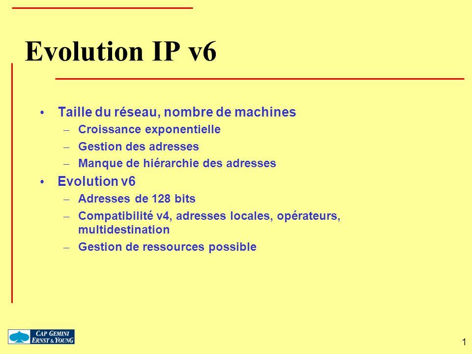 Evolution IP v6 Taille du réseau, nombre de machines Evolution v6