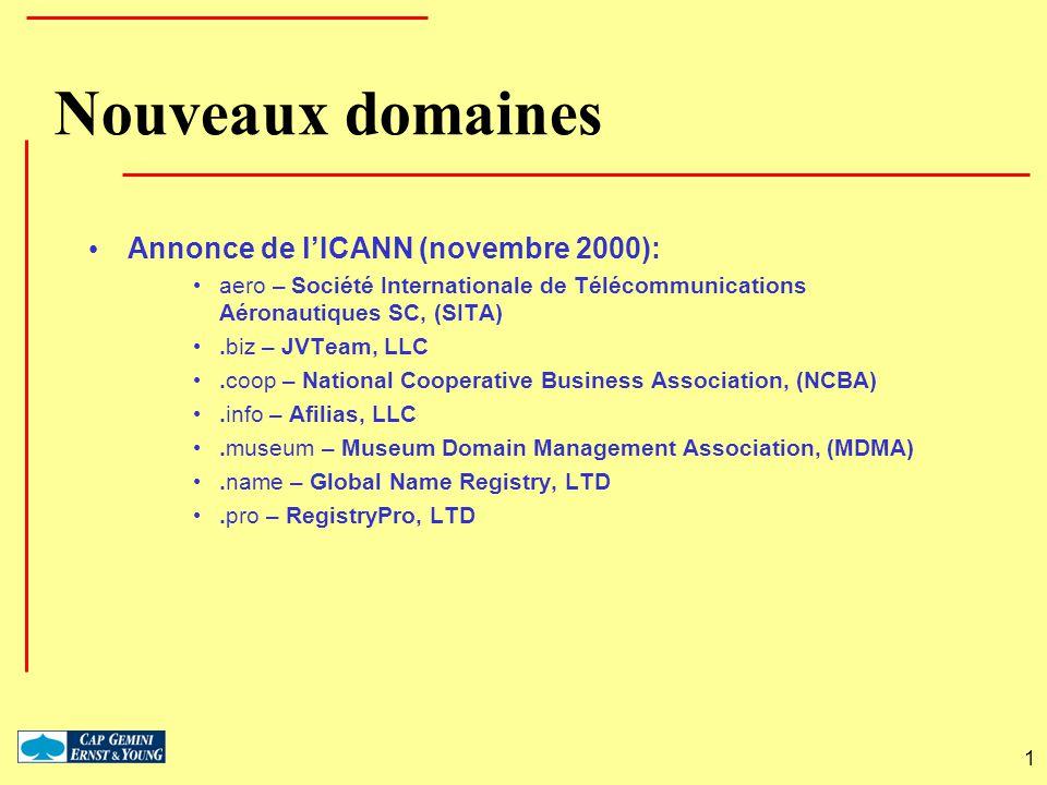 Nouveaux domaines Annonce de l'ICANN (novembre 2000):