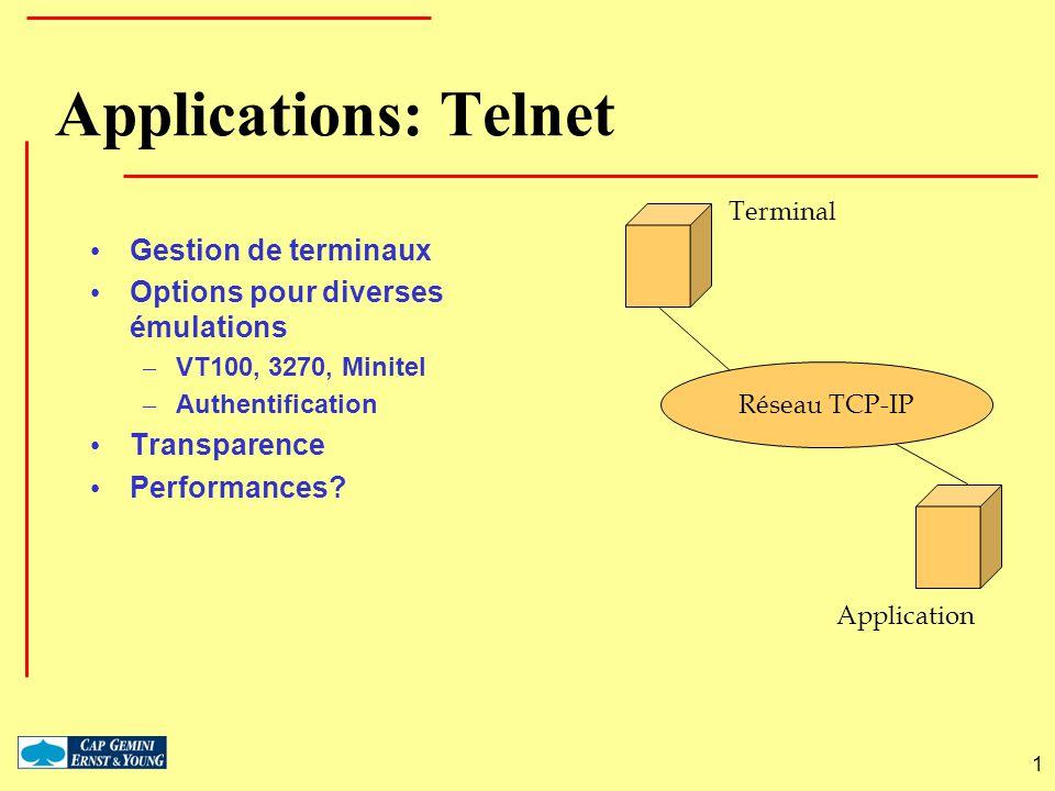 Applications: Telnet Gestion de terminaux