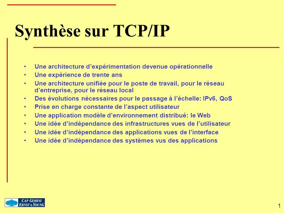 Synthèse sur TCP/IP Une architecture d'expérimentation devenue opérationnelle. Une expérience de trente ans.