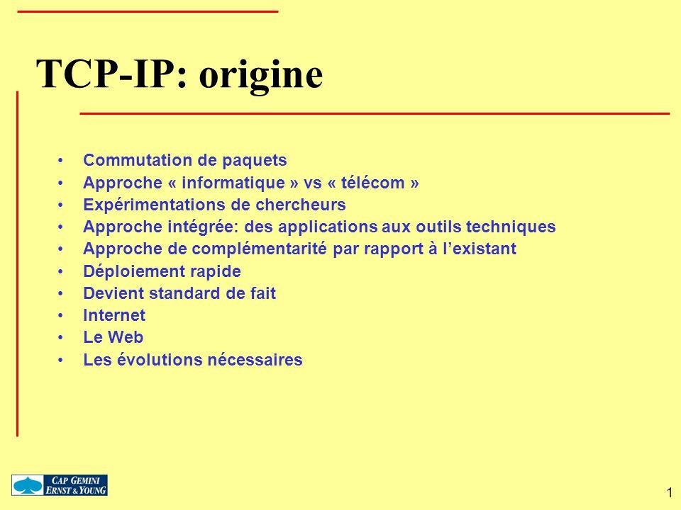 TCP-IP: origine Commutation de paquets