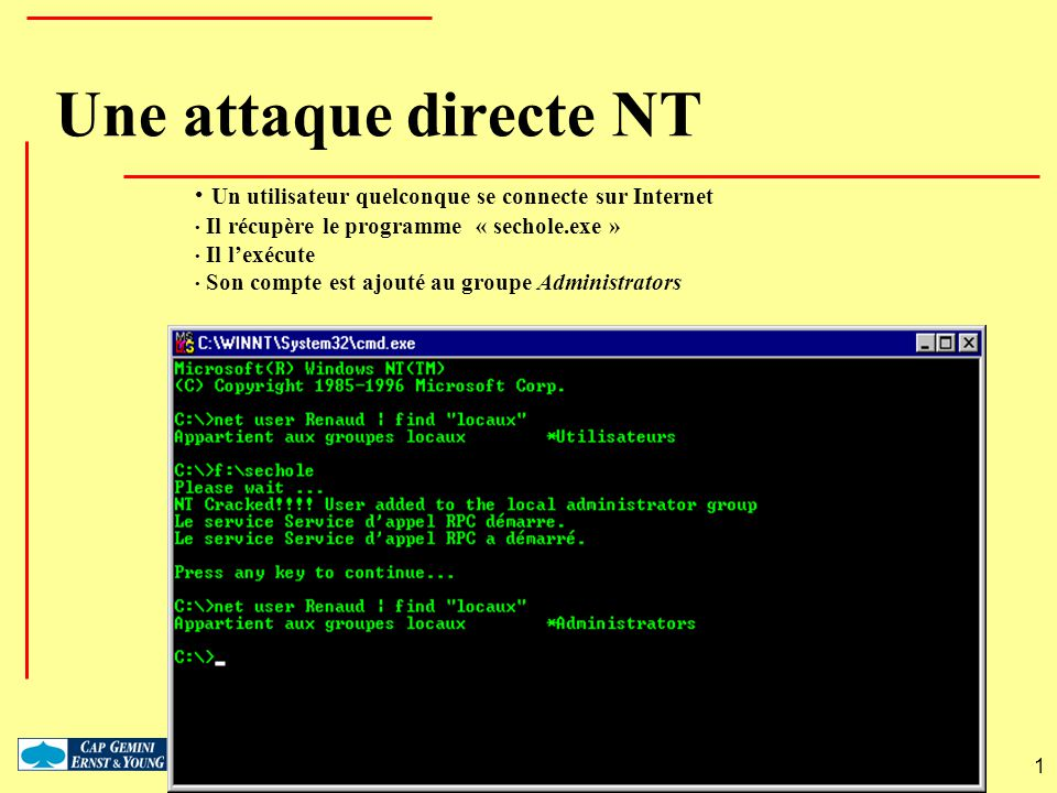 Une attaque directe NT Un utilisateur quelconque se connecte sur Internet. Il récupère le programme « sechole.exe »