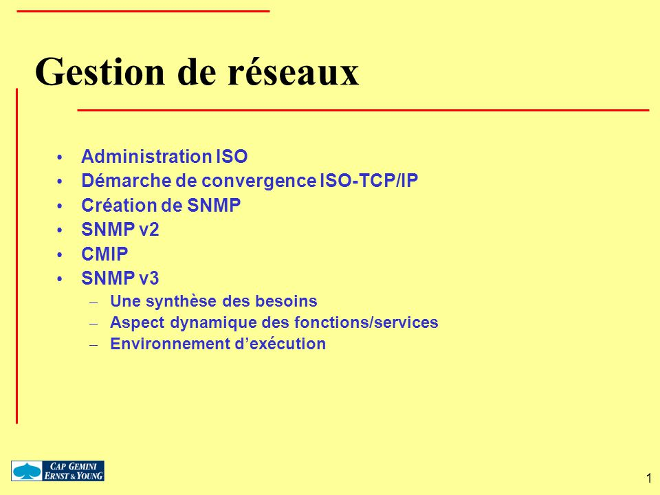 Gestion de réseaux Administration ISO