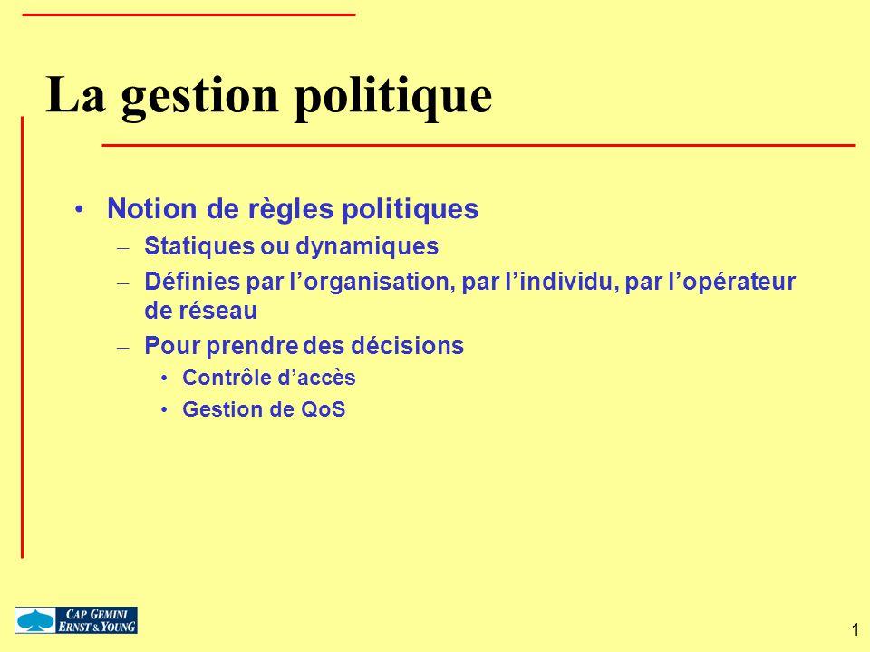 La gestion politique Notion de règles politiques