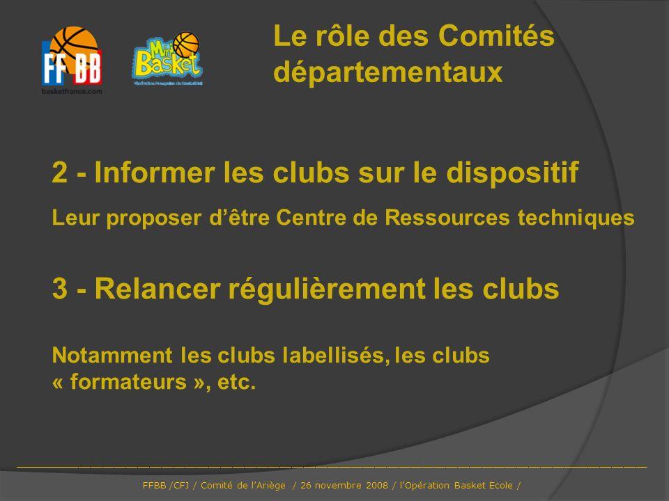 Le rôle des Comités départementaux