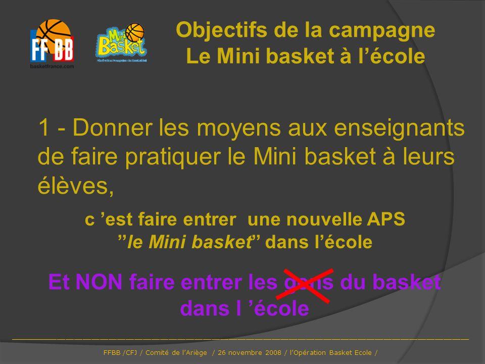Objectifs de la campagne Le Mini basket à l'école